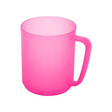 Kubek plastikowy z uchwytem - różowy