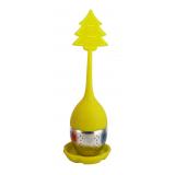 Żółty zaparzacz silikonowy z uchwytem i podstawką - CHOINKA - pudełko Carmani