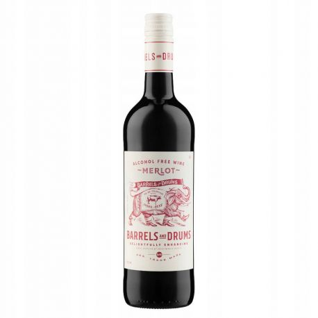 Barrels & Drums - Merlot - bezalkoholowe czerwone wino półwytrawne - 750 ml