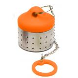 Zaparzacz silikonowo-stalowy z łańcuszkiem - POMARAŃCZOWY