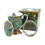 Kubek na stopce z zaparzaczem - Vincent van Gogh Irises - 300 ml
