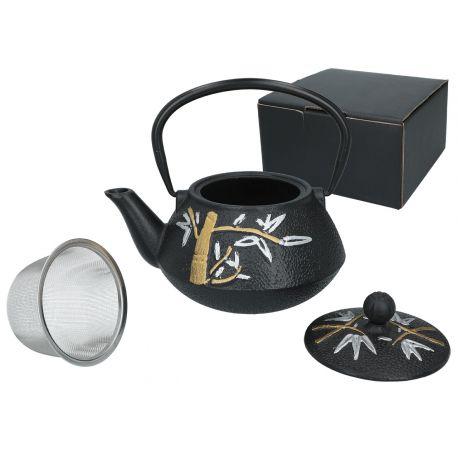 Zdobiony czajniczek żeliwny z zaparzaczem i pokrywką - 800 ml - Santai