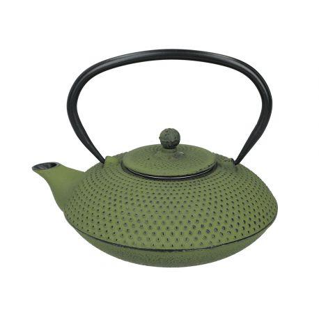 Zielony czajniczek żeliwny z zaparzaczem i pokrywką - 800 ml - Santai