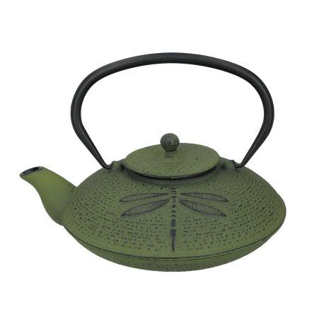 Zdobiony zielony czajniczek żeliwny z zaparzaczem i pokrywką - 1100 ml - Santai