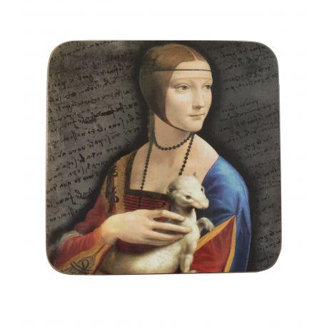 Podkładka korkowa - Leonardo Da Vinci - Dama z łasiczką - 10,5 x 10,5 cm
