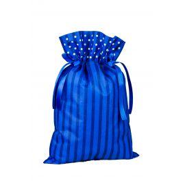 Worek prezentowy - niebieski w paski i białe kropki - 30 x 45 cm