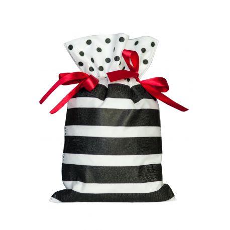 Worek prezentowy - białe paski i czarne grochy - 20 x 30 cm