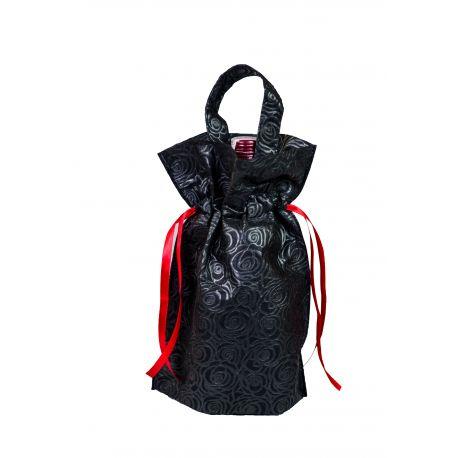 Worek prezentowy czarny z rączką - róże - 22 x 32 x 10 cm