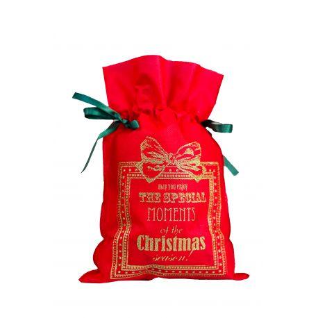 Woreczek prezentowy czerwony - Merry Christmas (złoty napis) - 22 x 31 cm