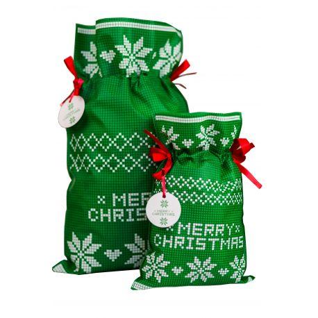 Woreczek prezentowy zielony - Merry Christmas - gwiazda betlejemska - 30 x 45 cm