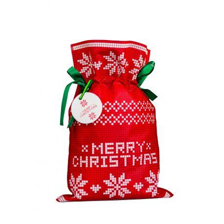 Woreczek prezentowy czerwony - Merry Christmas - gwiazda betlejemska - 20 x 30 cm