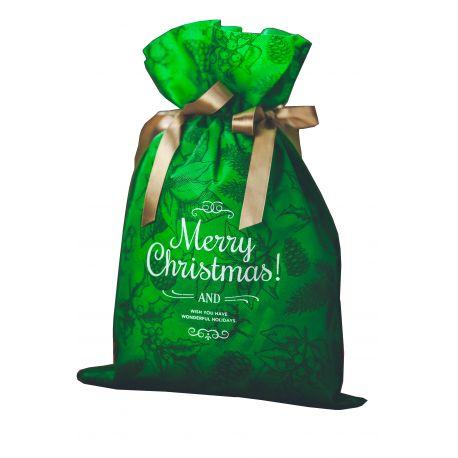 Woreczek prezentowy zielony - Merry Christmas - świąteczne motywy - 30 x 45 cm