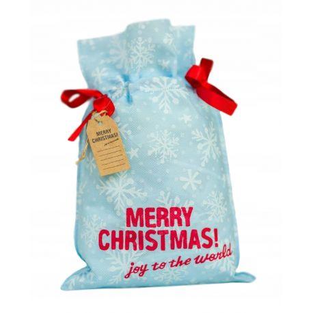 Worek prezentowy - Merry Christmas - płatki śniegu 30x45