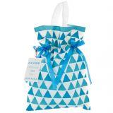 Worek prezentowy - niebieskie trójkąty 22x32 cm