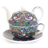 Tea For One William Morris - zestaw filiżanka + czajnik Blue Strawberry Thief