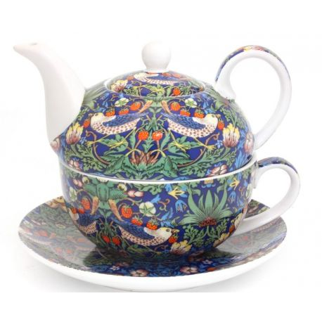 Tea For One William Morris - zestaw filiżanka + czajnik Blue Strawberry Thief