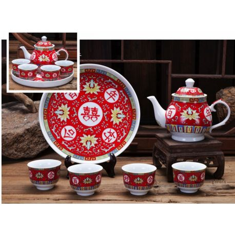 Zestaw do herbaty czajnik + 4 czarki
