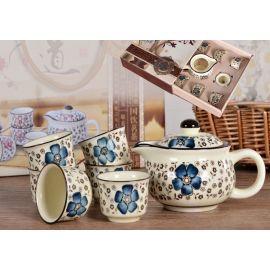 Zestaw do herbaty czajnik + 6 czarek z niebieskim zdobieniem