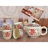 Zestaw do herbaty czajnik + 6 czarek z różowym zdobieniem