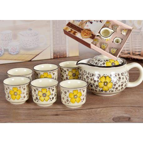 Zestaw do herbaty czajnik + 6 czarek z żółtym zdobieniem