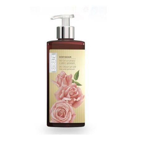 BIOBAZA BODY & HAIR 3 in 1 - żel pod prysznic z różą i pelargonią - 400ml
