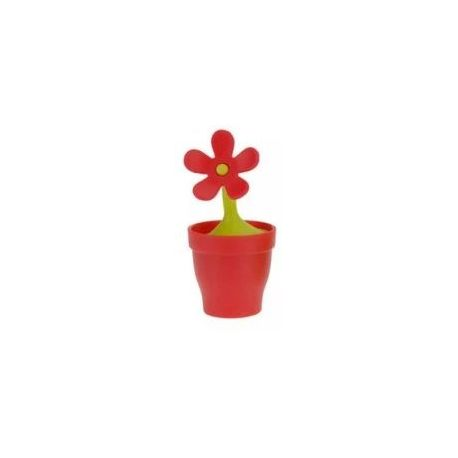Zaparzacz do herbaty silikonowy - kwiatek czerwony