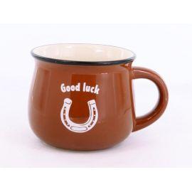 Kubek ceramiczny brązowy Good Luck - 350ml