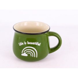 Kubek ceramiczny zielony Life is beautiful - 250ml
