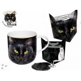 Kubek - czarny kot + pudełko z ogonkiem