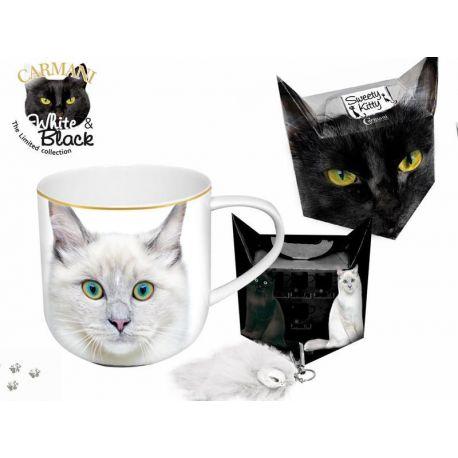 Kubek - biały kot + pudełko z ogonkiem