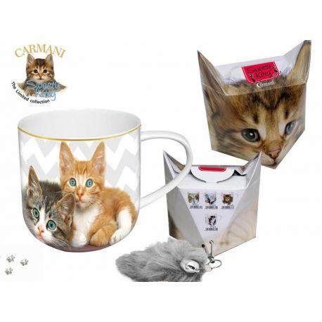 Kubek - koty na zygzaku + pudełko z ogonkiem