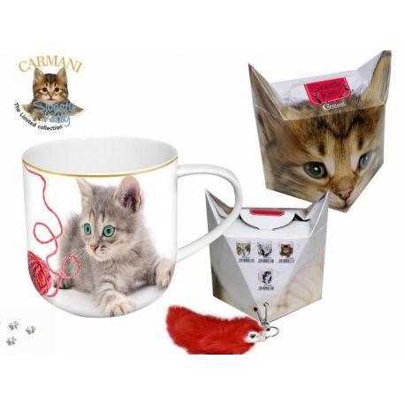 Kubek - koty z kłębkiem wełny + pudełko z ogonkiem