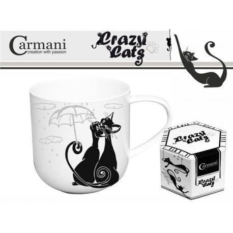 Kubek - koty i parasol biało - czarny