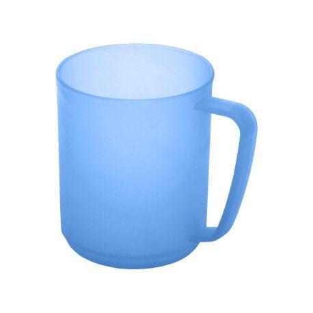 Kubek plastikowy z uchwytem - niebieski