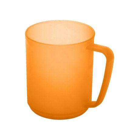 Kubek plastikowy z uchwytem - pomarańczowy