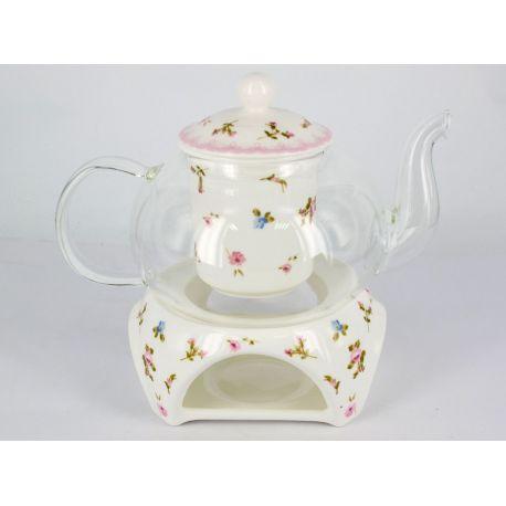 Czajniczek szklany z ceramicznym zaparzaczem - kwiatki