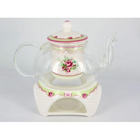 Czajniczek szklany z ceramicznym zaparzaczem - róże