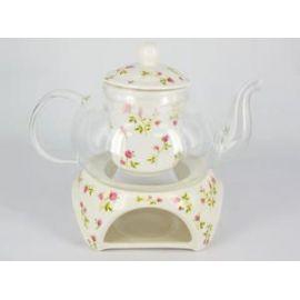 Czajniczek szklany z ceramicznym zaparzaczem - kwiaty