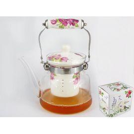 Czajnik szklany z zaparzaczem, podgrzewaczem i uchwytem - kwiaty