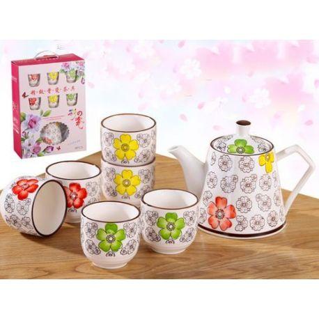 Zestaw do herbaty w kwiaty czajnik + 6 czarek