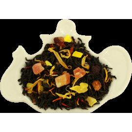 Czarna herbata z mango, ananasem, papają, różą i szafranem.