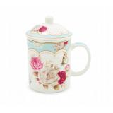 Kubek z zaparzaczem do herbaty - róże - niebieski