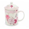 Kubek z zaparzaczem do herbaty - róże - różowy 330ml
