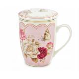 Kubek z zaparzaczem do herbaty - róże 360ml