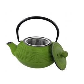 Żeliwny dzbanek 800ml - zielony z tłoczeniami