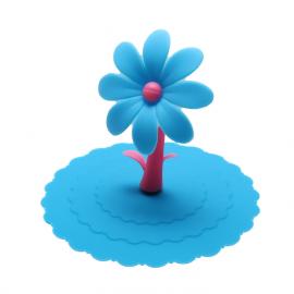 Pokrywka silikonowa na kubek z kwiatkiem - niebieska