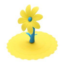 Pokrywka silikonowa na kubek z kwiatkiem - żółta