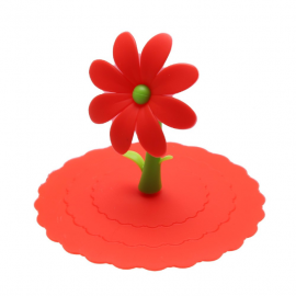 Pokrywka silikonowa na kubek z kwiatkiem - czerwona