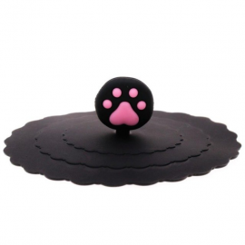 Pokrywka silikonowa na kubek czarna z kocią łapką