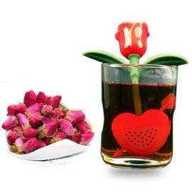 Zaparzacz do herbaty silikonowy - kwiat z sercem